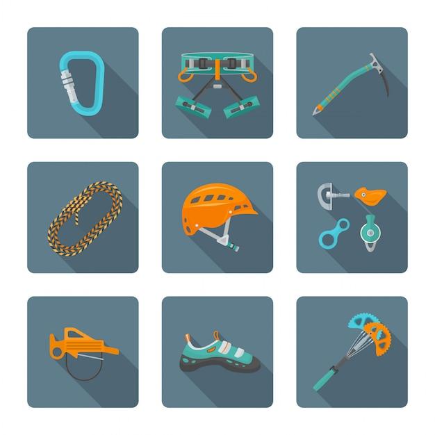 Lo stile piano ha colorato la raccolta delle icone dei vari strumenti di alpinismo Vettore Premium