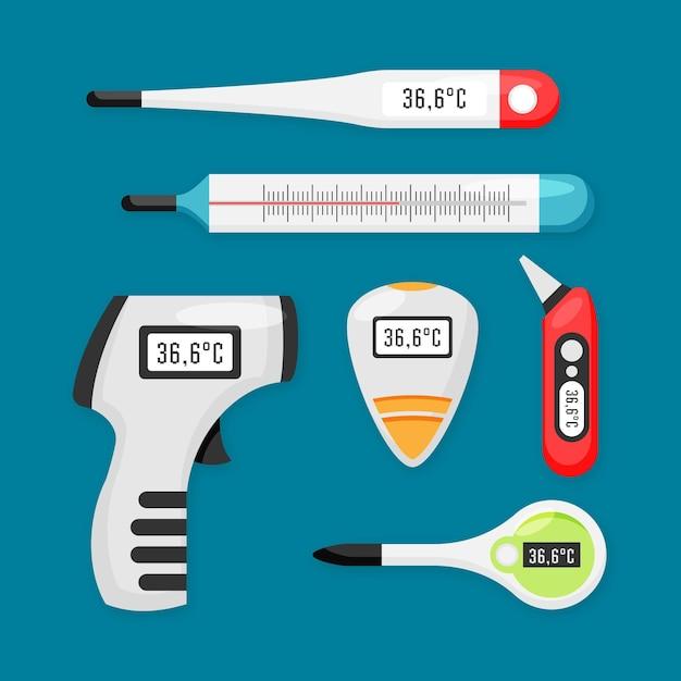 Concetto di tipi di termometro piatto Vettore Premium