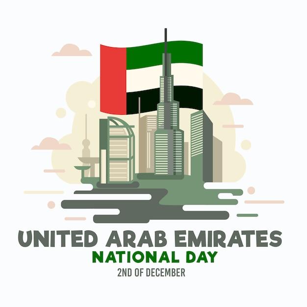 Giornata nazionale piatta degli emirati arabi uniti Vettore Premium