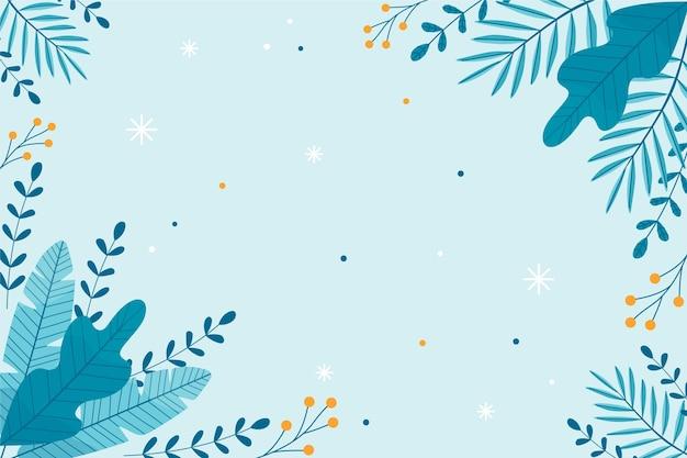 Carta da parati invernale piatta con piante Vettore Premium