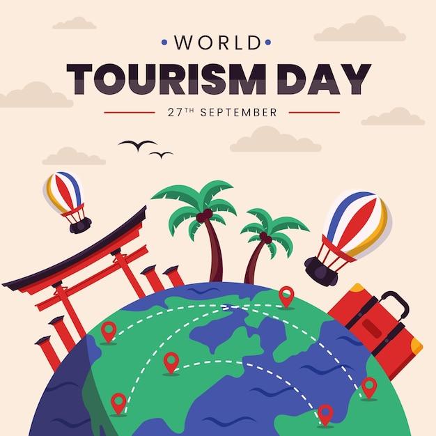 Concetto di giornata mondiale del turismo piatto Vettore Premium