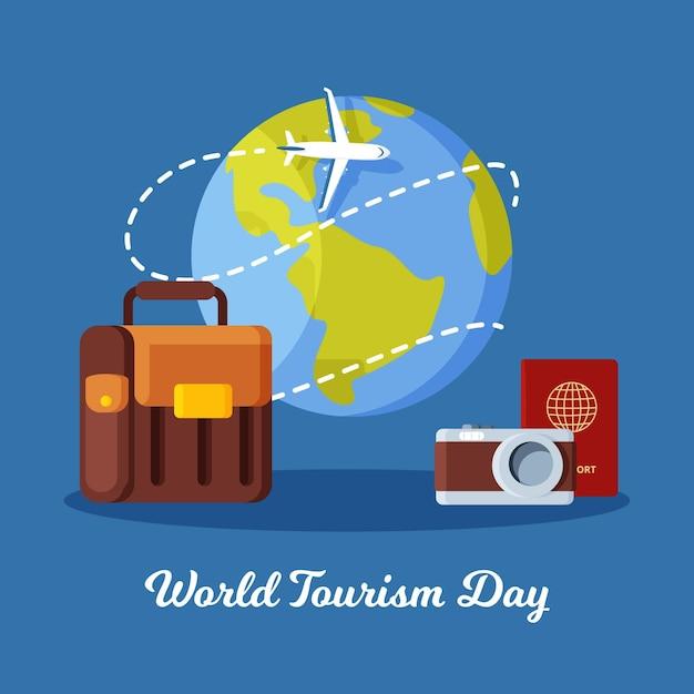 Illustrazione di giornata mondiale del turismo piatto Vettore Premium