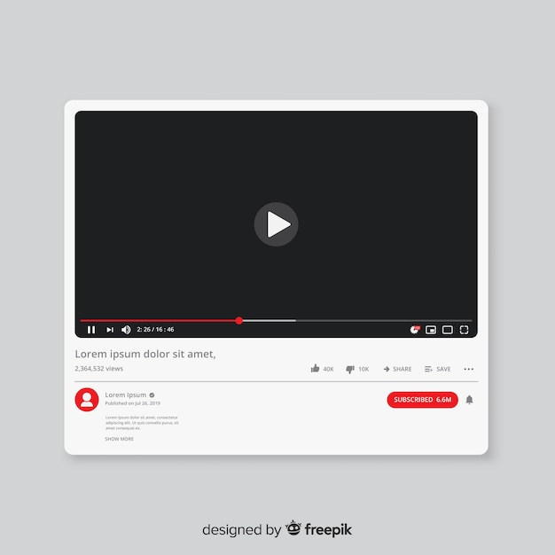 Modello di lettore multimediale piatto youtube Vettore Premium
