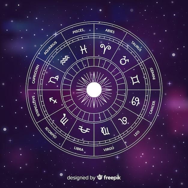 Ruota dello zodiaco piatto su sfondo di galassia Vettore Premium