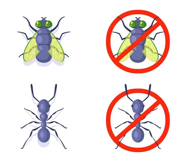 Mosche e formica su uno sfondo bianco. lotta contro gli insetti domestici. Vettore Premium