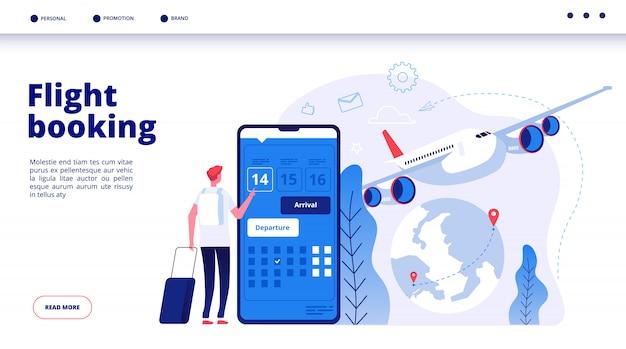 Prenotazione del volo. prenotazione di viaggio di bilancio online nel concetto di servizio di viaggio di vacanza di vacanza di voli aerei di prenotazione di internet Vettore Premium