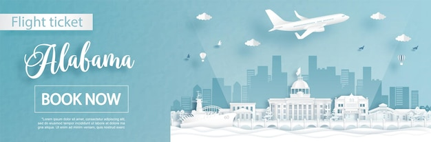 Modello di pubblicità di volo e biglietto con viaggio in alabama, stati uniti d'america concetto e famosi monumenti Vettore Premium