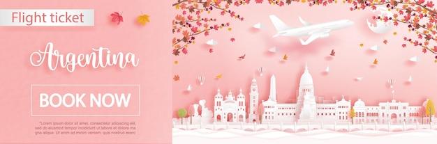 Modello pubblicitario di volo e biglietto con viaggio a bueno aires, in argentina nella stagione autunnale con foglie d'acero che cadono e famosi monumenti in stile taglio carta Vettore Premium