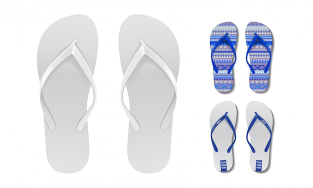 Flip flop set mock up. modello di disegno vettoriale di estate spiaggia infradito coppia per la pubblicità Vettore Premium
