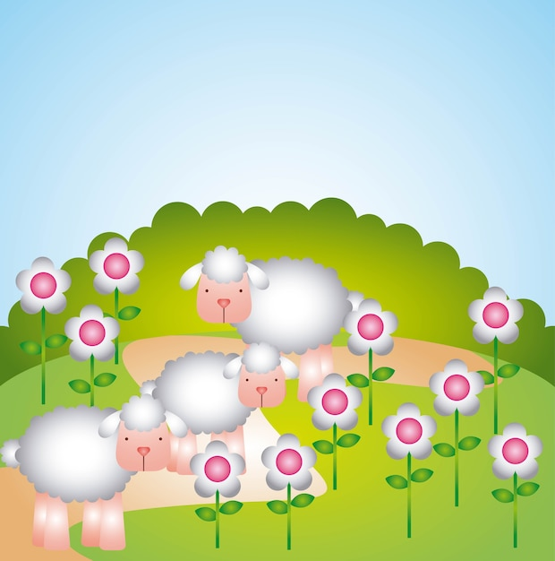 Gregge di pecore design Vettore Premium