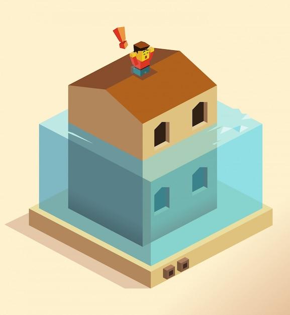 Disastro inondazioni Vettore Premium
