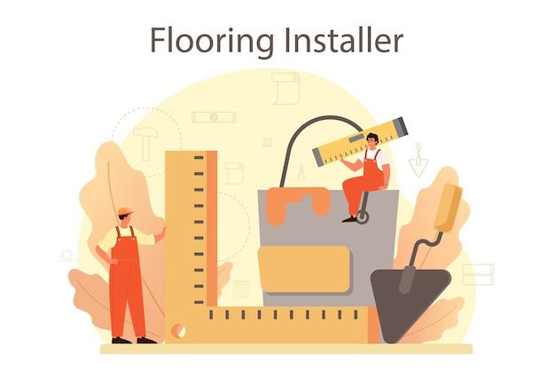 Installatore di pavimenti. posa professionale di parquet, pavimenti in legno o piastrelle. Vettore Premium