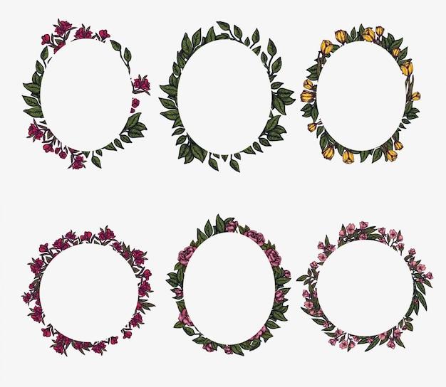 Cornici floreali. composizione di fogliame di primavera, disposizione del cerchio ghirlanda di fiori. elemento per la progettazione grafica. modello di invito Vettore Premium