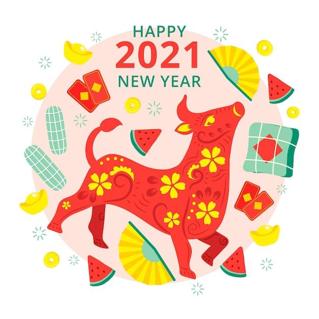 Toro floreale felice anno nuovo vietnamita 2021 Vettore Premium