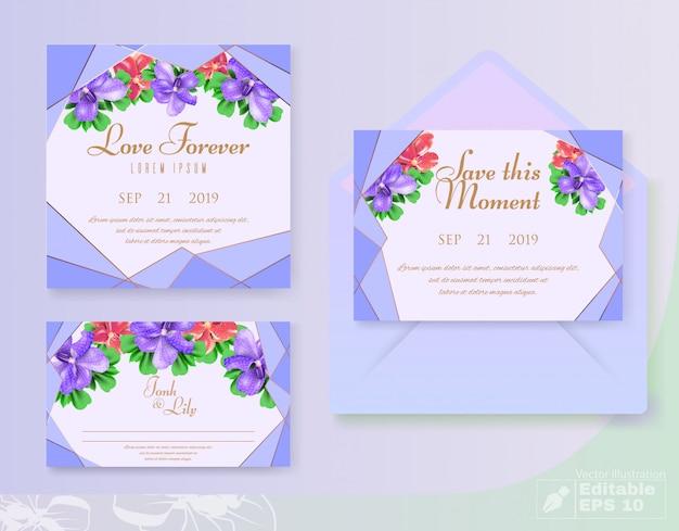 Biglietti d'invito decorativi floreali impostato su matrimonio Vettore Premium