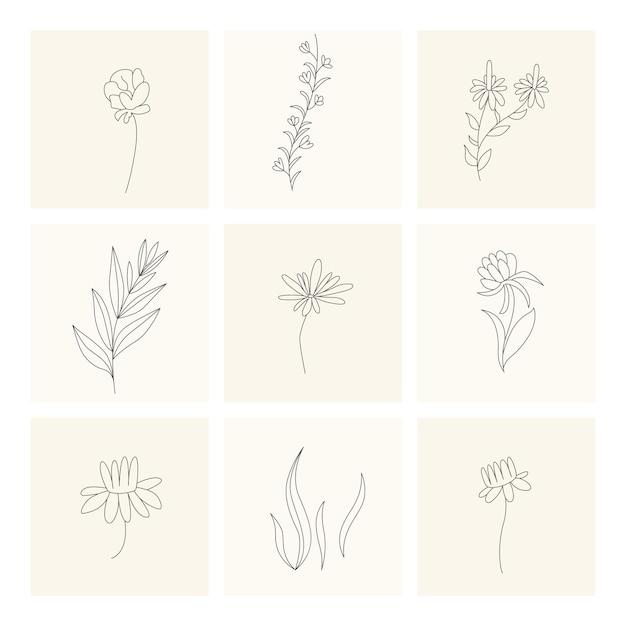Collezione di elementi floreali di piante disegnate a mano design Vettore Premium