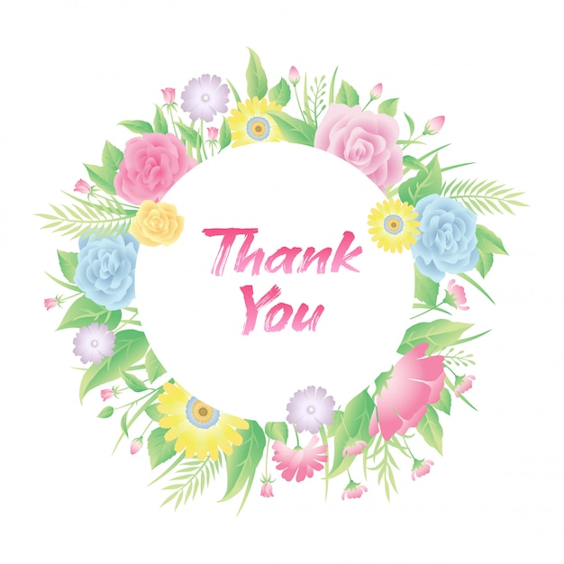 Cornice floreale rosa fiori, foglie ed erba con testo di ringraziamento Vettore Premium