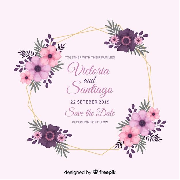 Modello di invito a nozze cornice floreale Vettore Premium