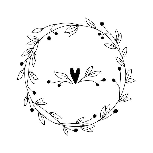 Cornice floreale con rami e fiori. corona di erbe disegnata a mano per carta, matrimonio, auguri, stampa e altri motivi floreali vintage. Vettore Premium
