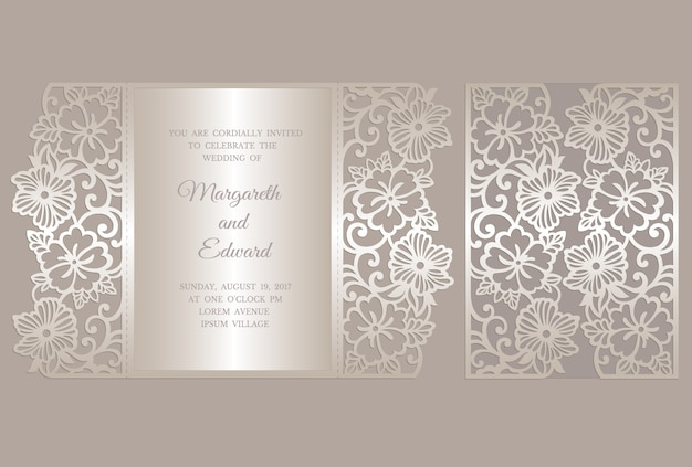 Modello floreale della carta dell'invito di nozze del taglio del laser della piega del portone. modello per il taglio. design per modello laser cut o die cut. matrimonio ornamentale invito mockup. Vettore Premium