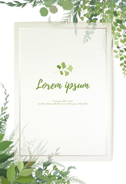 Disegno di carta floreale verde: felce foresta fronde di eucalipto ramo foglie verdi fogliame verde erba cornice. invito a nozze Vettore Premium