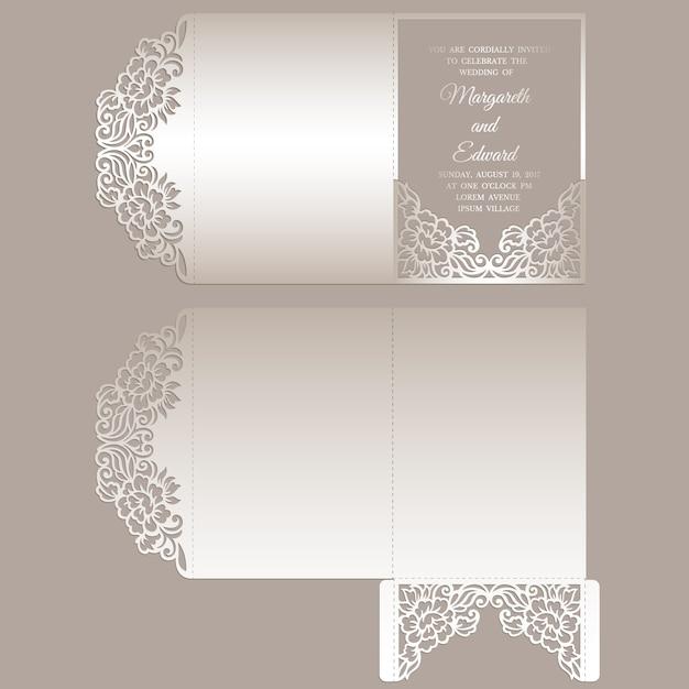 Busta tascabile ripiegabile a taglio laser in pizzo floreale per inviti di nozze. matrimonio ornamentale invito mockup. design a busta tascabile. Vettore Premium