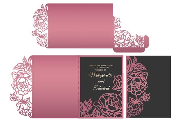 Busta tascabile ripiegabile a taglio laser in pizzo floreale per inviti di nozze. mockup invito a nozze. design a busta tascabile. Vettore Premium