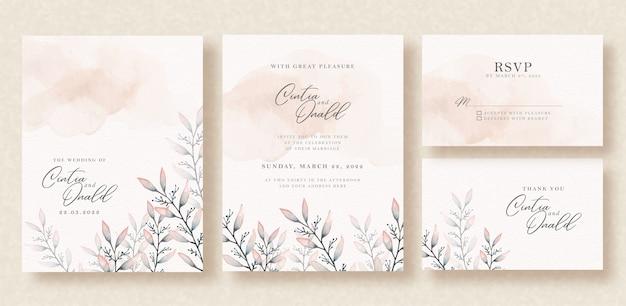 Acquerello di foglie floreali su invito a nozze Vettore Premium