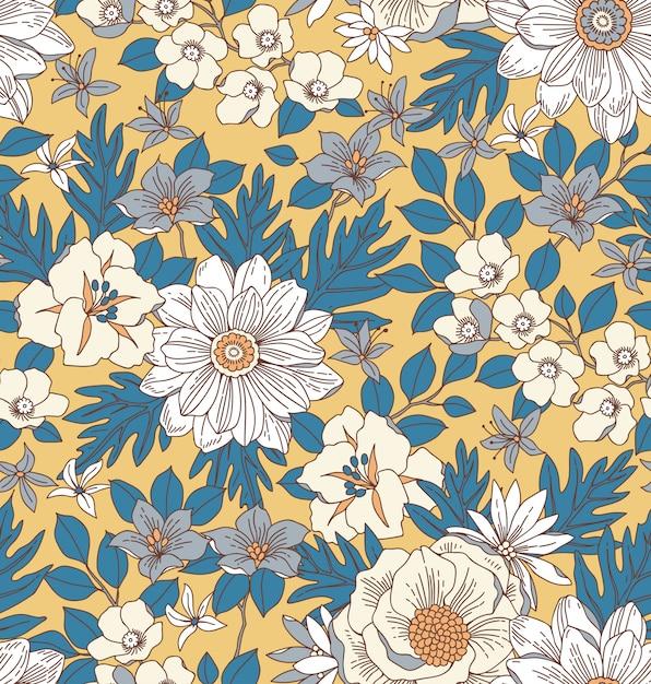 Motivo floreale con fiori disegnare a mano. Vettore Premium