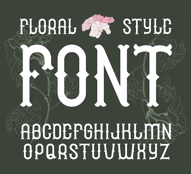 Carattere floreale stile vintage alfabeto di fiori eleganti Vettore Premium