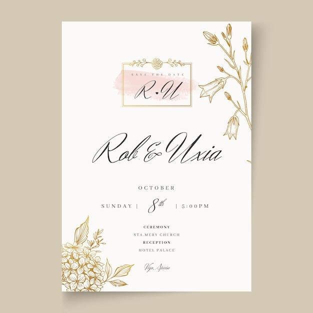 Carta di matrimonio floreale Vettore Premium