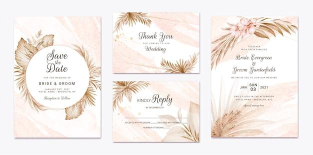 Insieme di modelli di invito matrimonio floreale. concetto di design della carta botanica Vettore Premium