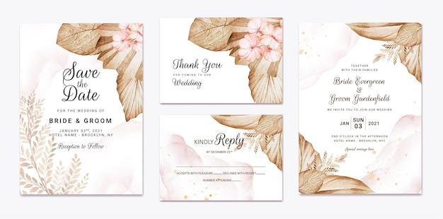 Modello di invito matrimonio floreale con decorazioni di fiori e foglie di rose marroni e pesca. concetto di design della carta botanica Vettore Premium
