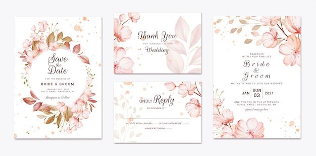 Modello floreale dell'invito di nozze con la decorazione marrone dei fiori e delle foglie di sakura. concetto di design della carta botanica Vettore Premium
