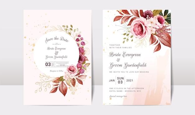 Modello di invito matrimonio floreale con decorazioni di fiori e foglie di rose bordeaux e marroni oro. concetto di design della carta botanica Vettore Premium