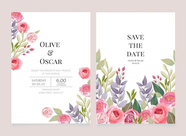 Modello di invito matrimonio floreale Vettore Premium