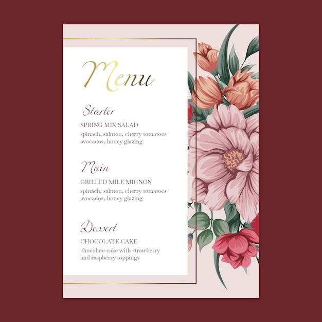 Menu modello di matrimonio floreale Vettore Premium