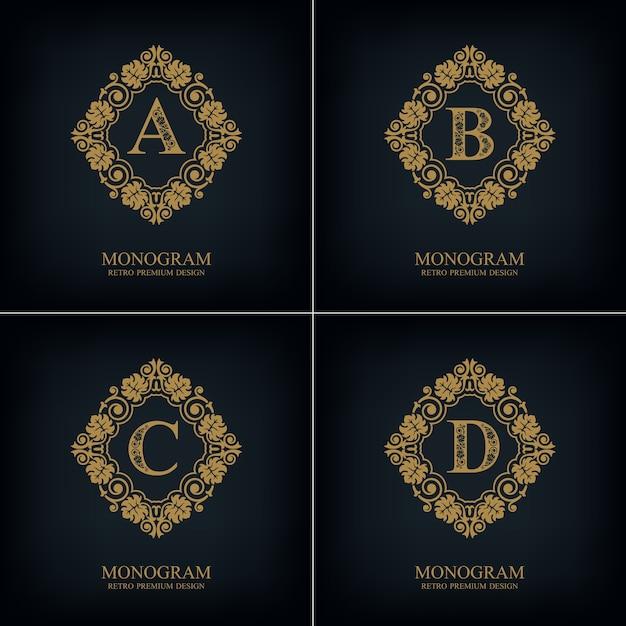 Fiorisce il modello abcd dell'emblema della lettera, elementi di design del monogramma, modello grazioso calligrafico. Vettore Premium