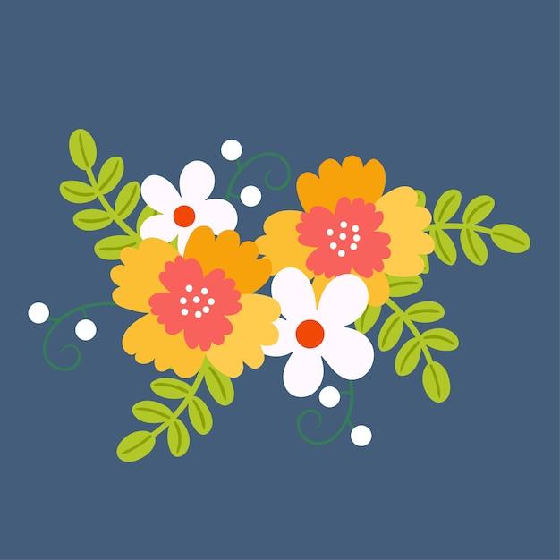 Mazzo di fiori bouquet floreale. Vettore Premium