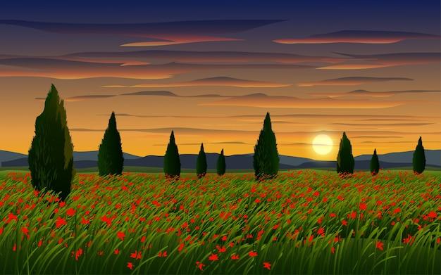 Campo dei fiori nel tramonto nuvoloso con alberi Vettore Premium