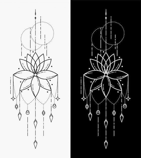 I tatuaggi geometrici di fiori Vettore Premium