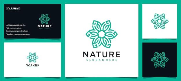 Fiore logo design ispirazione per la cura della pelle, yoga, cosmetici, saloni e spa, con concetto di linea e biglietto da visita Vettore Premium