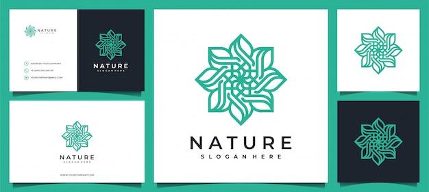 Disegno di marchio del fiore con elegante biglietto da visita Vettore Premium