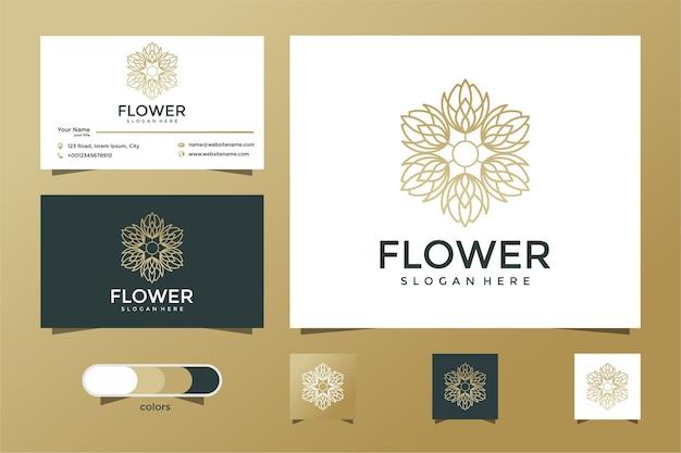 Design del logo del fiore con stile art line. logo e biglietto da visita Vettore Premium