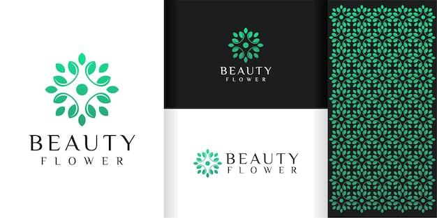 Logo del fiore e modello del modello Vettore Premium