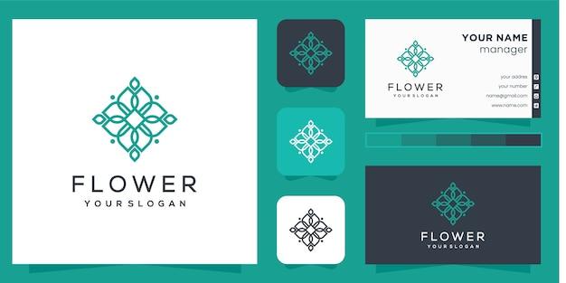 Logo del fiore con stile art line e biglietto da visita Vettore Premium