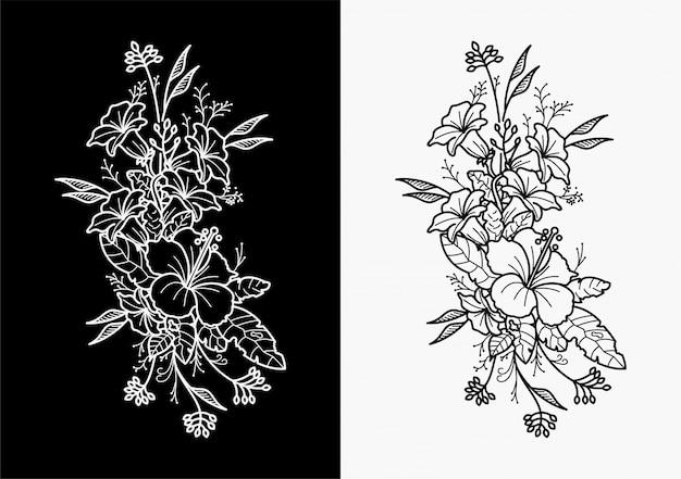 I tatuaggi floreali disegnano mani geometriche Vettore Premium