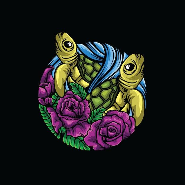 Logo di sfondo nero tartaruga fiore Vettore Premium