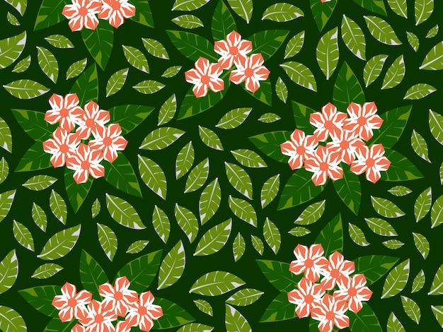 Fiore con il modello senza cuciture del fondo verde Vettore Premium