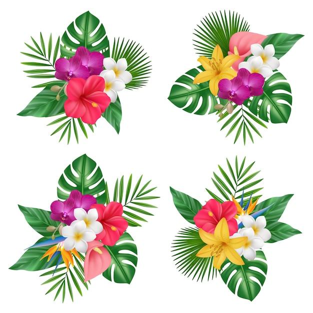 Bouquet di fiori. raccolta di immagini realistiche di piante esotiche tropicali bali natura foresta. illustrazione floreale esotico, fiore tropicale realistico Vettore Premium